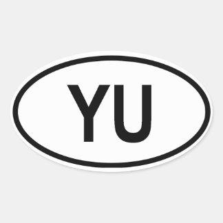 "FYRA Jugoslavien ""YU "", Ovalt Klistermärke"