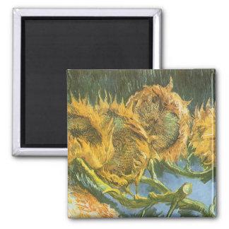 Fyra klippta solrosor av Vincent Van Gogh, konst Magnet