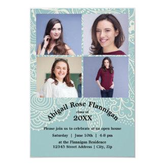 Fyra meddelande för fotoCollageblått Lace-3x5Grad 8,9 X 12,7 Cm Inbjudningskort