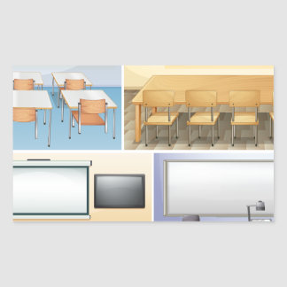 Fyra platser av klassrumet rektangulärt klistermärke