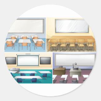 Fyra platser av klassrumet runt klistermärke
