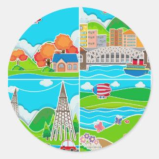 Fyra platser av staden och bygd runt klistermärke