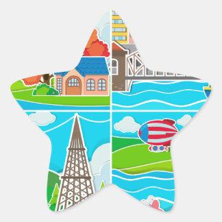 Fyra platser av staden och bygd stjärnformat klistermärke
