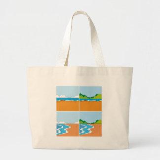 Fyra platser av stranden och hav jumbo tygkasse