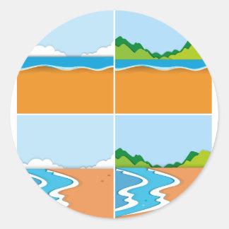 Fyra platser av stranden och hav runt klistermärke