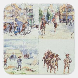 Fyra platser från boeren kriger, från en fyrkantigt klistermärke