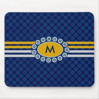 Fyra randMonogramblått och guld ID207 Musmatta