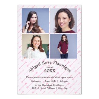 Fyra rosa pilar för fotoCollage - akademikert 12,7 X 17,8 Cm Inbjudningskort