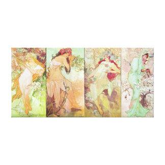 Fyra säsonger av Alfons Mucha, 1896 Canvastryck