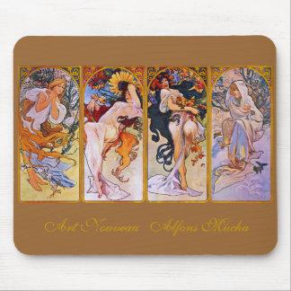 Fyra säsonger av Alfons Mucha Mus Mattor
