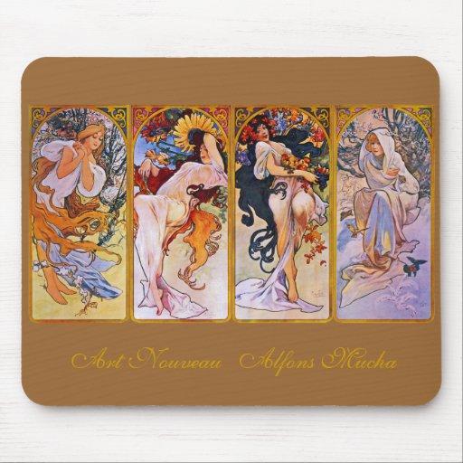 Fyra säsonger av Alfons Mucha Musmattor
