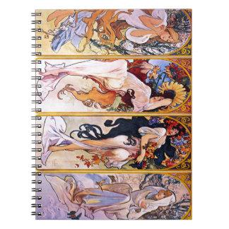 Fyra säsonger av Alphonse Mucha 1895 Anteckningsbok