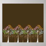 Fyra säsongträd på den bruna affischen