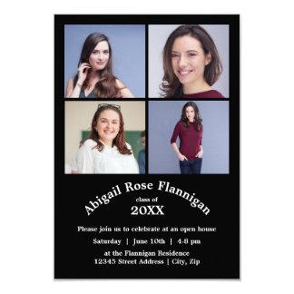 Fyra studenten för fotoCollageSvart 3x5 8,9 X 12,7 Cm Inbjudningskort