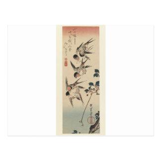 Fyra svalor vid Hiroshige Vykort