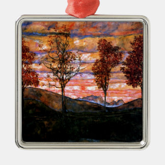 Fyra träd av Egon Schiele Silverfärgad Fyrkantigt Julgransprydnad