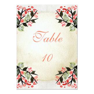 Fyra vattenfärgbuketter - bordsnummer 12,7 x 17,8 cm inbjudningskort