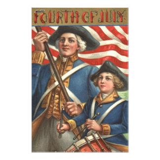 Fyrverkerier för soldat för pojke för US-flaggahan Fototryck