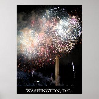 Fyrverkerier över Washington Poster