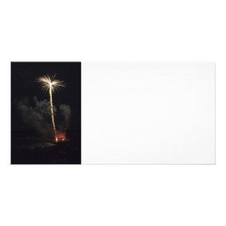 Fyrverkerifirande på natten fotokort