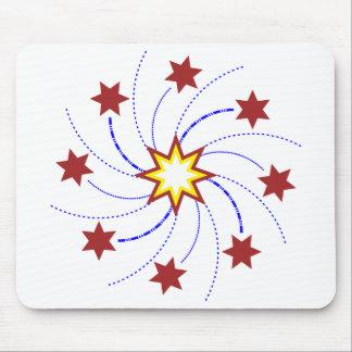 Fyrverkeristjärnan virvlar runt - rött, gult, musmatta