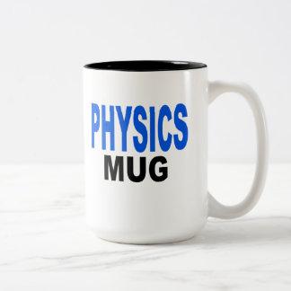 Fysiken rånar, gåvamuggen. Text läser, Två-Tonad Mugg