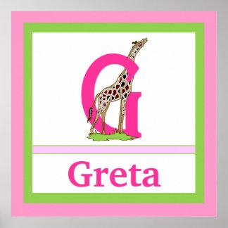 G är för för väggkonst för giraff och för flicka k posters