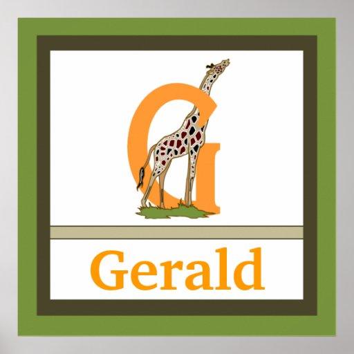 G är för för väggkonst för giraff och för pojke kä affisch