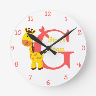 G är för giraff- och Gina-Barns sovrum Rund Klocka