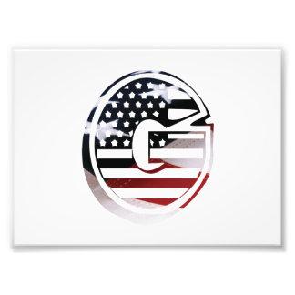 G för Monogram för USA flaggaamerikan initialt Fototryck