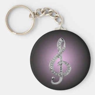 G-klav för musiksymboler rund nyckelring