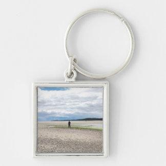 Gå avståndet Keychain Fyrkantig Silverfärgad Nyckelring
