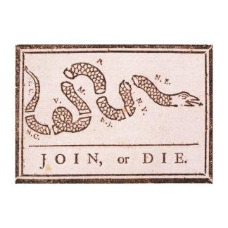Gå med eller dö den ORIGINAL- Benjamin Franklin te Canvastryck