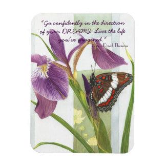 Gå säkert….,- Purpurfärgad iris- & fjärilsmagnet Magnet