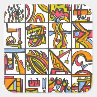Gå till lekplatsen - abstrakt konst fyrkantigt klistermärke