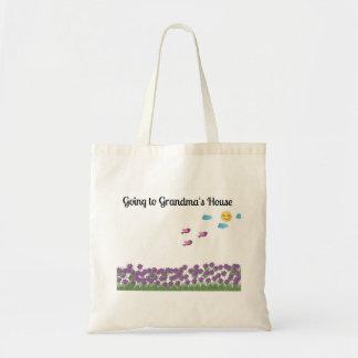 Gå till mormor totot för huslila blommor tygkasse