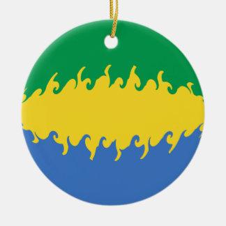 Gabon Gnarly flagga Rund Julgransprydnad I Keramik