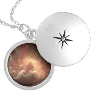 Galaxmedelsilver pläterad rundaLocket Silverpläterat Halsband