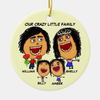 Galen familjtecknad för jul julgransprydnad keramik