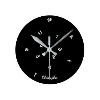 Galen för timmeanpassningsbar för coola svart medium rund klocka