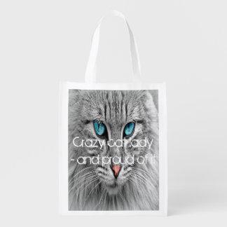 Galen kattdam, beställnings- familjhusdjurfoto återanvändbar påse