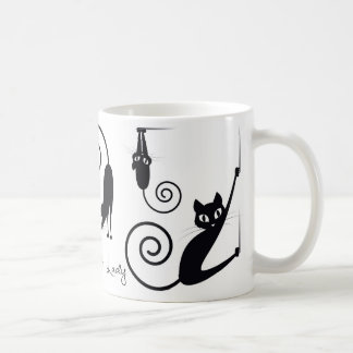 Galen kattdammugg, med stilfulla katter vit mugg