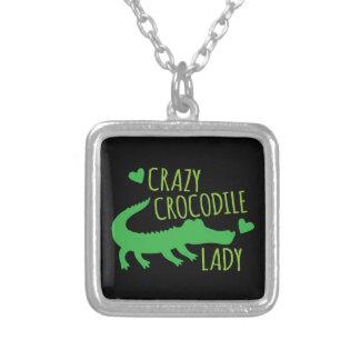 Galen krokodildam silverpläterat halsband