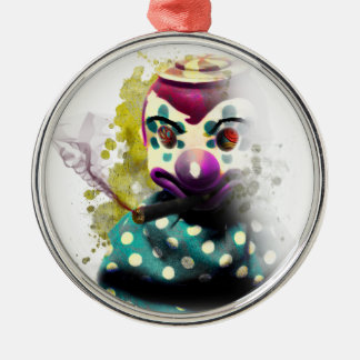 Galen ond clownleksak julgransprydnad metall