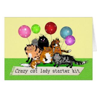 Galen sats för kattdamstartknapp. katter hälsningskort