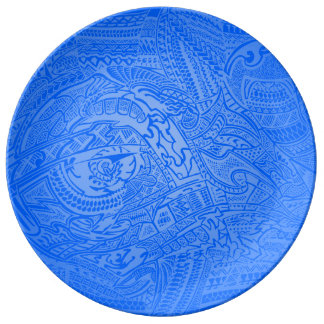 Galet stam- klotter för blåttglödhand plockade porslinstallrik