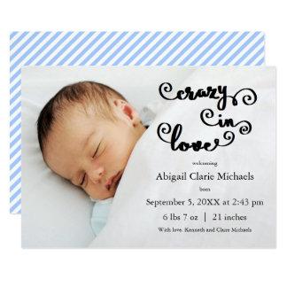 Galna förälskade blått - födelsemeddelande 12,7 x 17,8 cm inbjudningskort