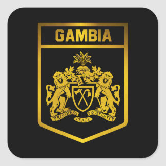 Gambia Emblem Fyrkantigt Klistermärke