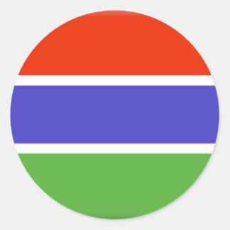 Gambia flagga runt klistermärke