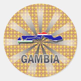 Gambia flaggakarta 2,0 runt klistermärke